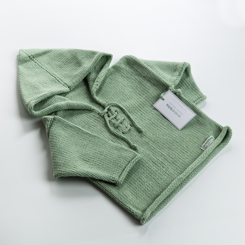 新西兰原产weebits羊毛帽衫宝宝毛衣宝宝上衣 黄绿 L