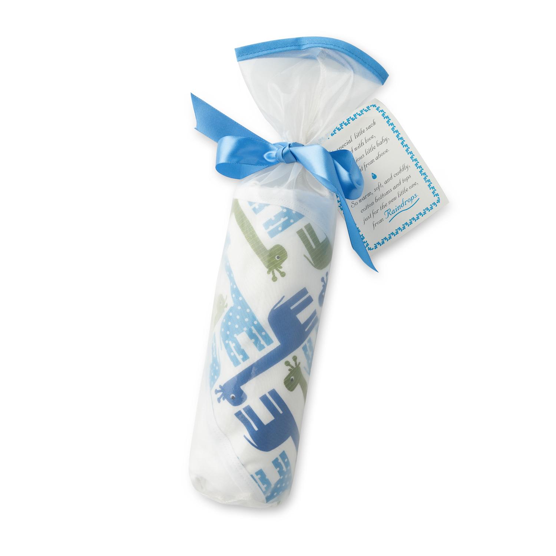 美国原产Raindrops婴幼儿连帽包毯礼品套装珍贵系列 蓝色长颈鹿图案