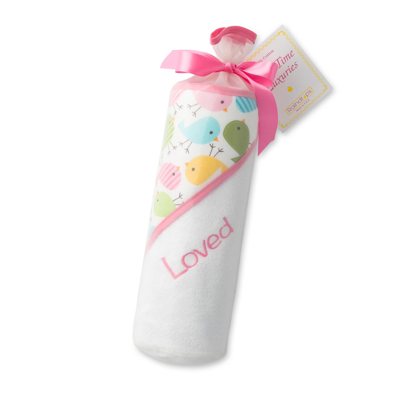 美国原产Raindrops婴幼儿连帽浴巾礼品套装真爱系列 粉色小鸟图案-女孩