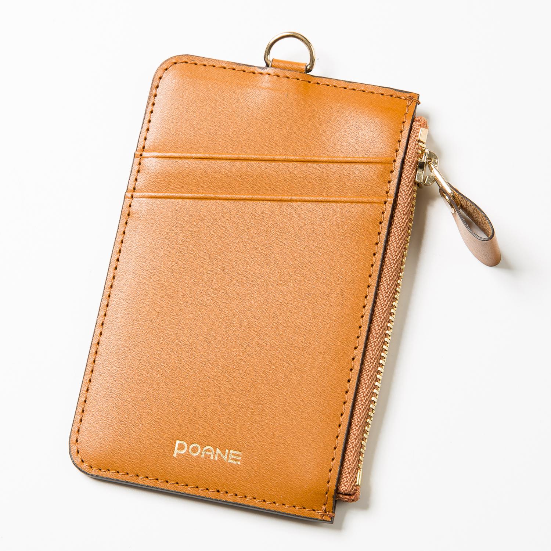 韩国原产POANE牛皮拉链多色卡包零钱包 棕色