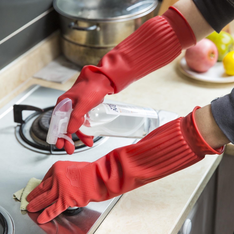 韩国原产Myungjin厨房用乳胶手套洗碗手套清洁手套 大红 42x22cm