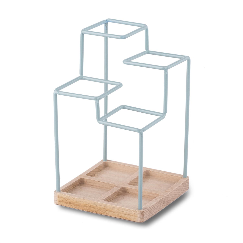 英国原产block桌面收纳架 木质底座骨架涂层钢 蓝色