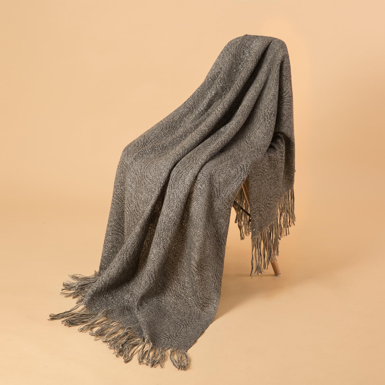 新西兰Stansborough指环王系列灰羊毛针织披肩盖毯金银丝 银灰