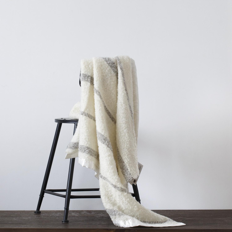 新西兰原产Stansborough指环王系列雪宝宝加缎灰羊毛盖毯 灰条