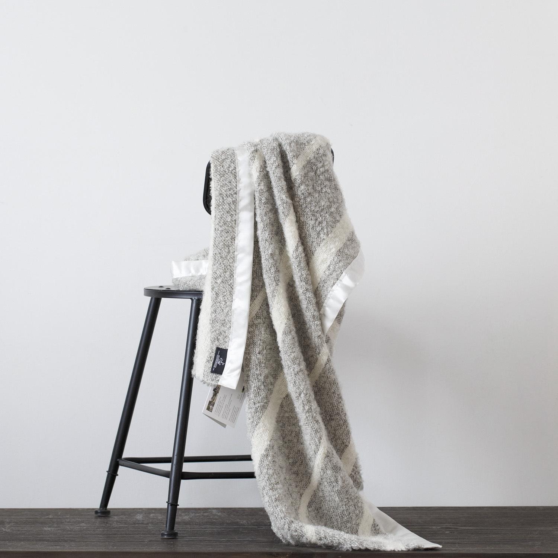 新西兰原产Stansborough指环王系列雪宝宝加缎灰羊毛盖毯 浅灰