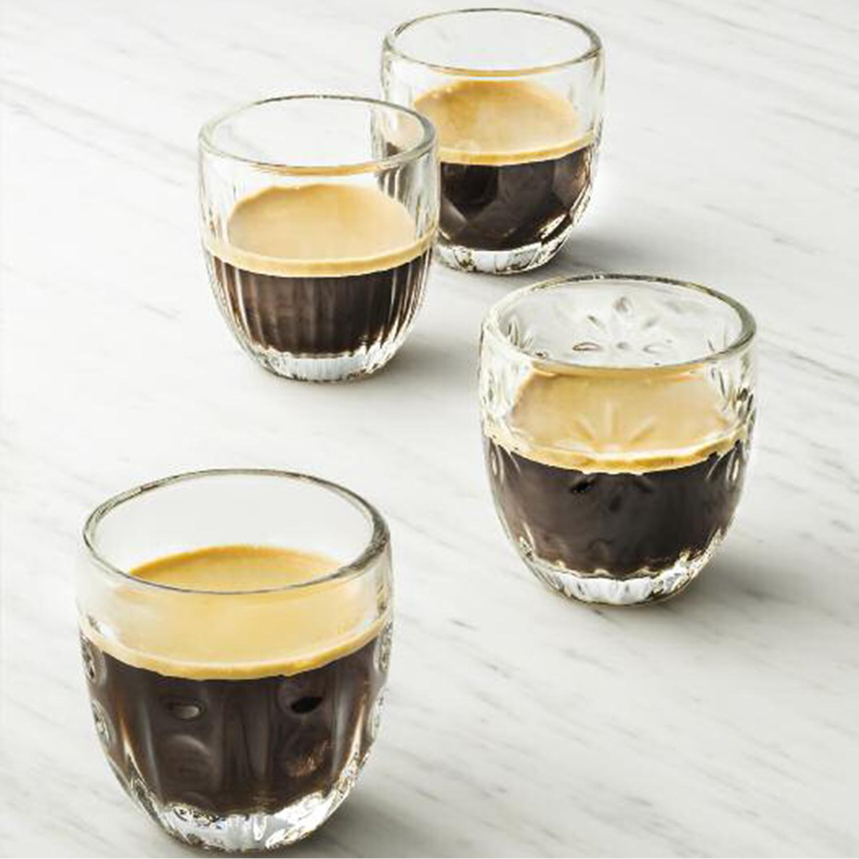 法国原产La Rochère咖啡杯玻璃杯 不同图案组合 四件套 透明