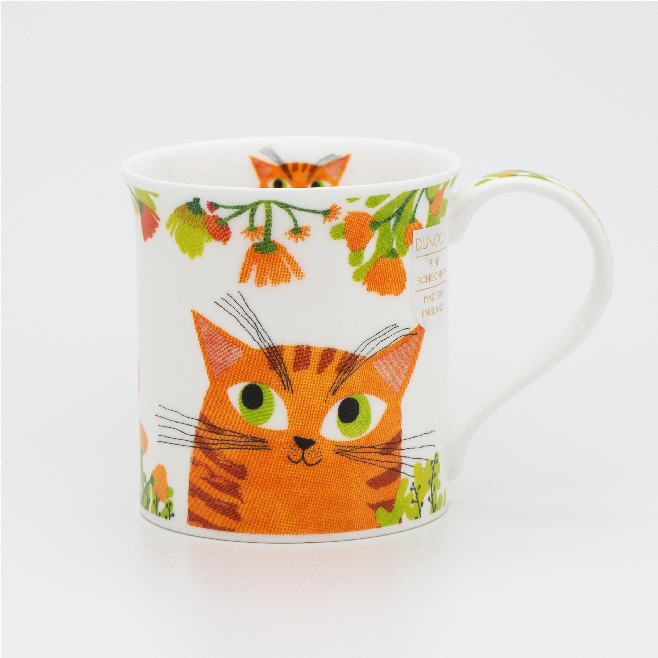 英国原产丹侬Dunoon骨瓷水杯马克杯茶杯BUTE型 灵动的猫咪 橙色