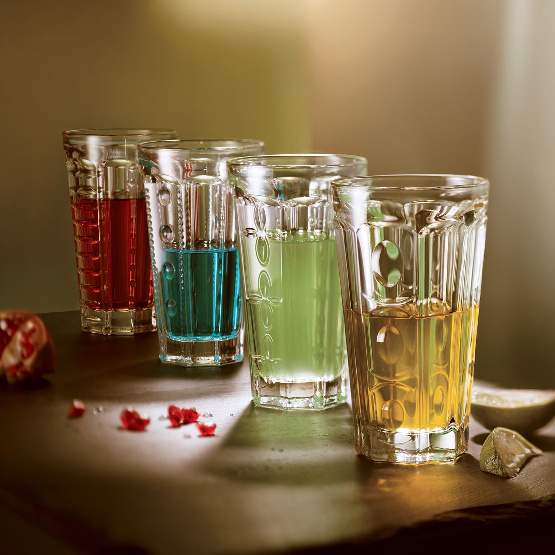 法国原产La Rochère长饮杯玻璃酒杯 不同图案组合4件套 透明