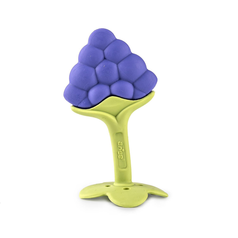 韩国原产ange 葡萄型婴儿牙胶宝宝磨牙器 带夹子和保护壳 紫色