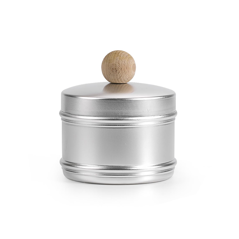 ITALO OTTINETTI铝材质密封饼干罐(木质圆头盖)1个装 银色
