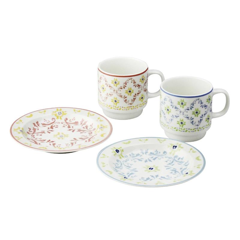 日本原产AITO Diane Harrison 美浓烧陶瓷马克杯碟子4件 红色蓝色