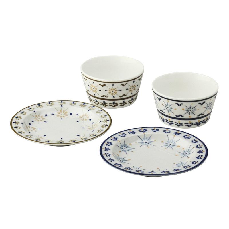 日本原产AITO Diane Harrison 美浓烧陶瓷饭碗碟盘子4件 蓝色棕色