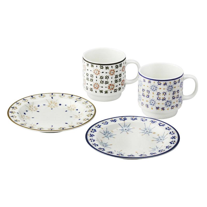 日本原产AITO Diane Harrison美浓烧陶瓷马克杯碟子4件 蓝色棕色