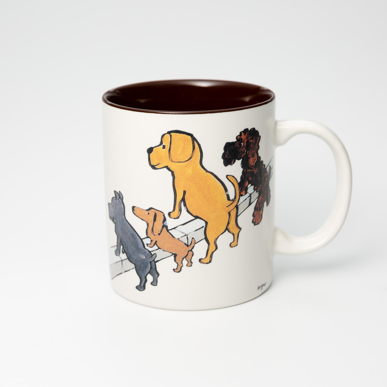 日本原产AITOsavignac系列美浓烧陶瓷马克杯小狗们的清洁大赛 花色