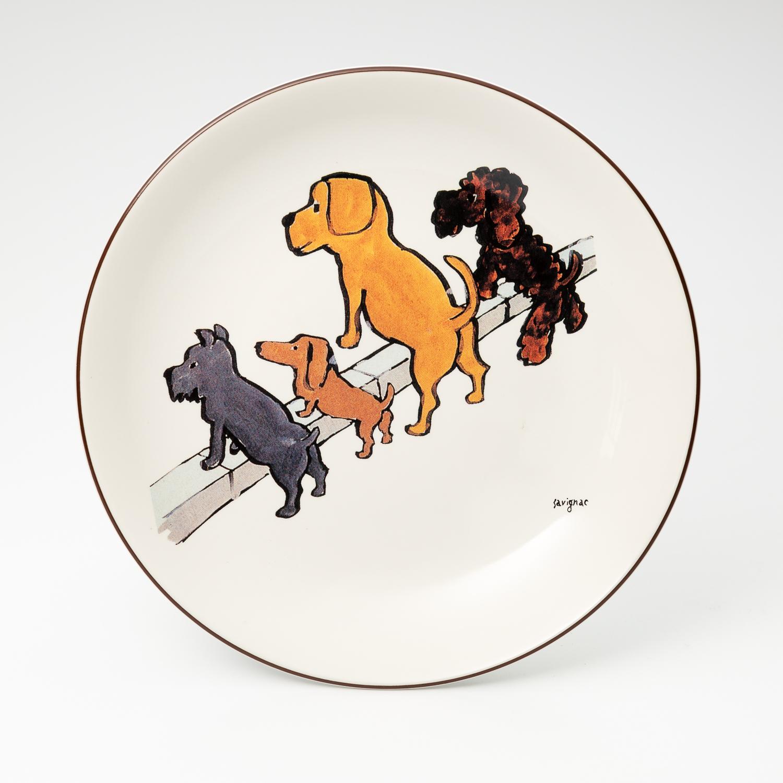 日本原产AITOsavignac系列美浓烧陶瓷餐碟小狗们的清洁大赛 花色