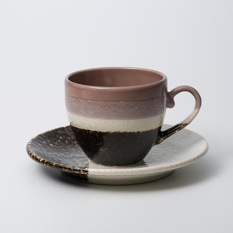 日本原产AITOGlaze works美浓烧陶瓷杯碟套装 葡萄紫