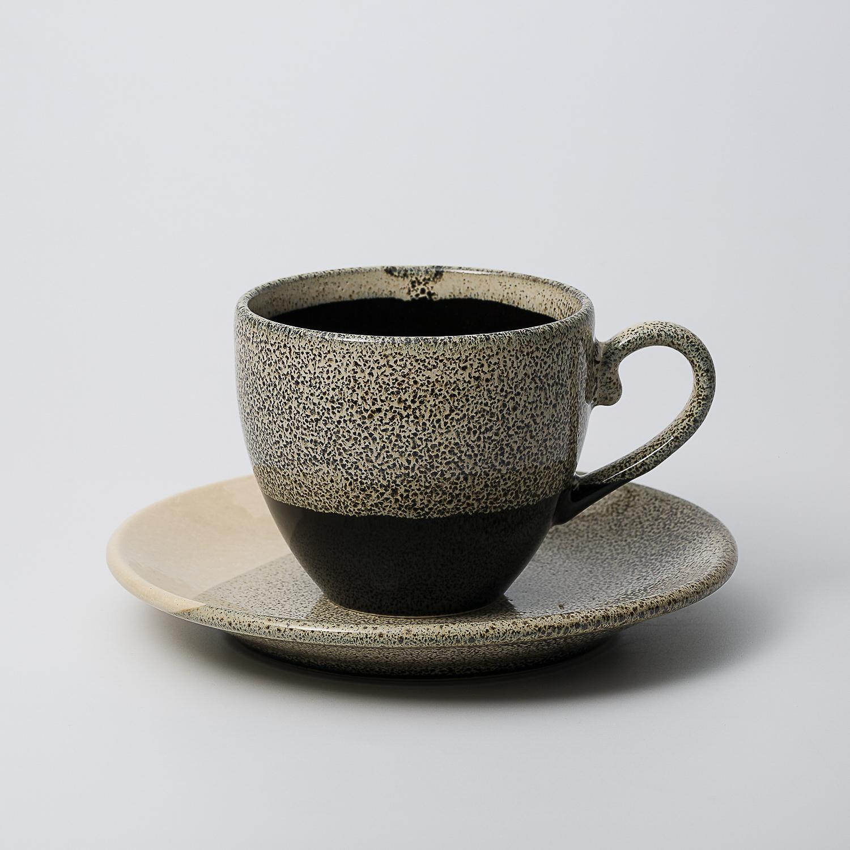 日本原产AITOGlaze works美浓烧陶瓷杯碟套装 珊瑚灰