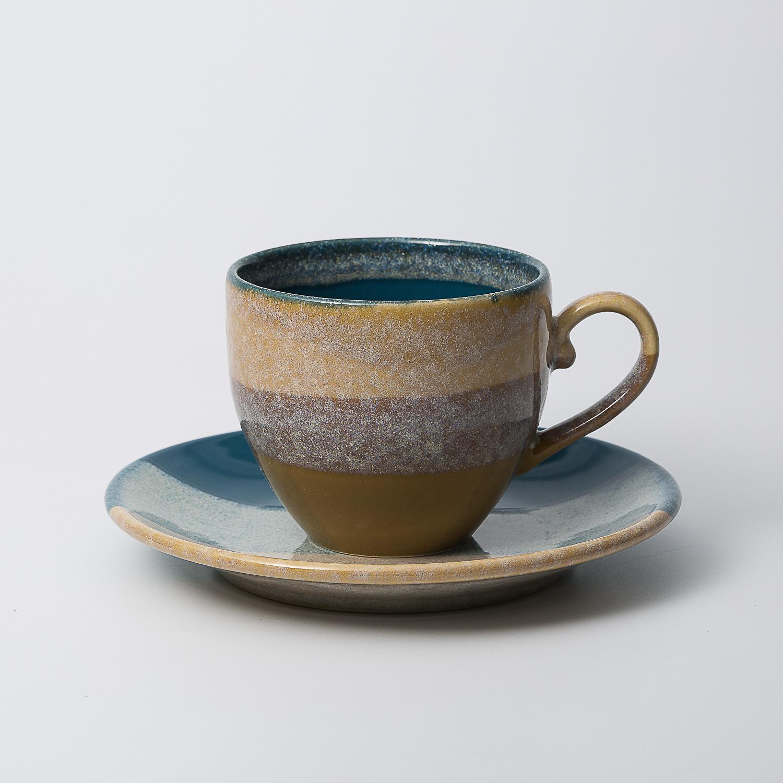 日本原产AITOGlaze works美浓烧陶瓷杯碟套装 孔雀绿