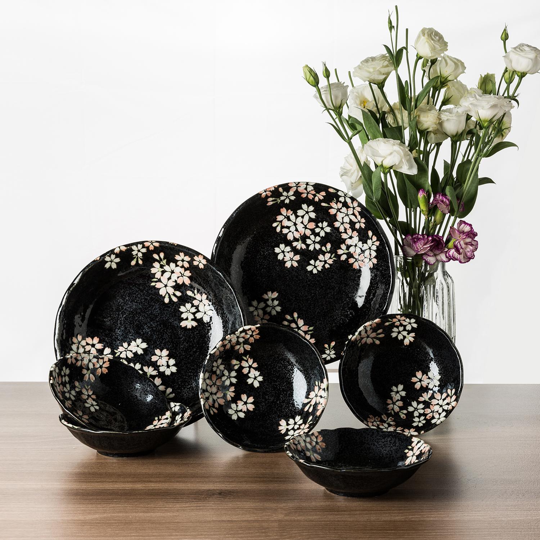日本原产AITO宇野千代淡墨樱花美浓烧陶瓷碗碟7件套装 黑色