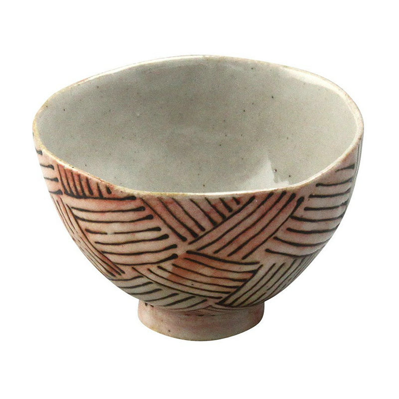 日本原产AITO濑户烧手作陶瓷小圆碗汤面碗手工网纹饭碗 深红