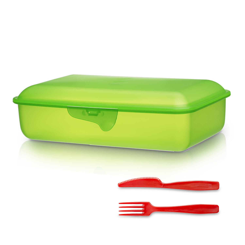 意大利原产Cosmoplast塑料方形午餐盒便当盒带餐具 绿色