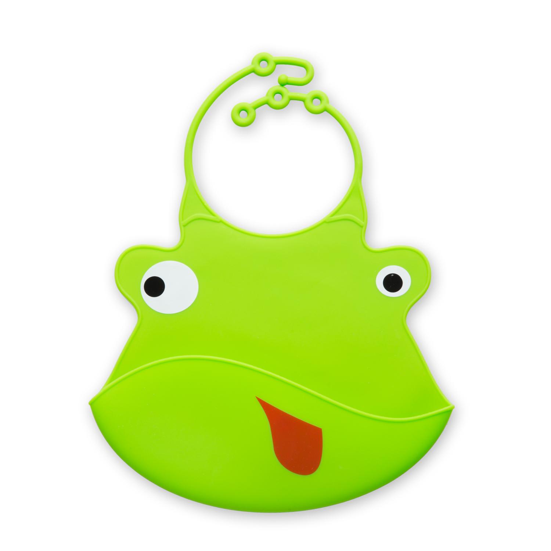 瑞典原产Virgel Technology卡通硅胶围嘴围兜饭兜小青蛙 绿色