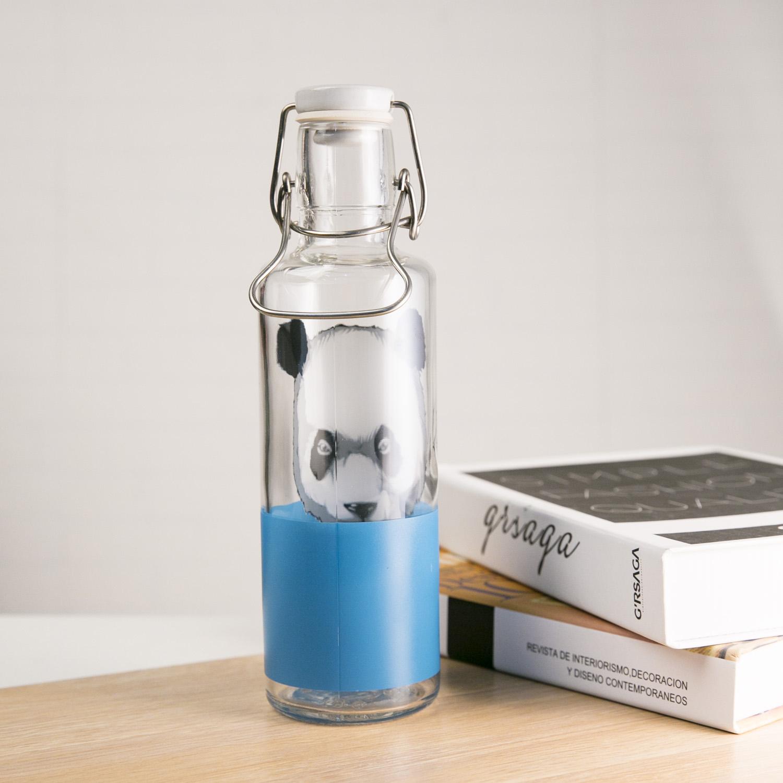 德国原产soul bottles玻璃水瓶水具 玻璃瓶子装水瓶 饥渴熊猫 透明