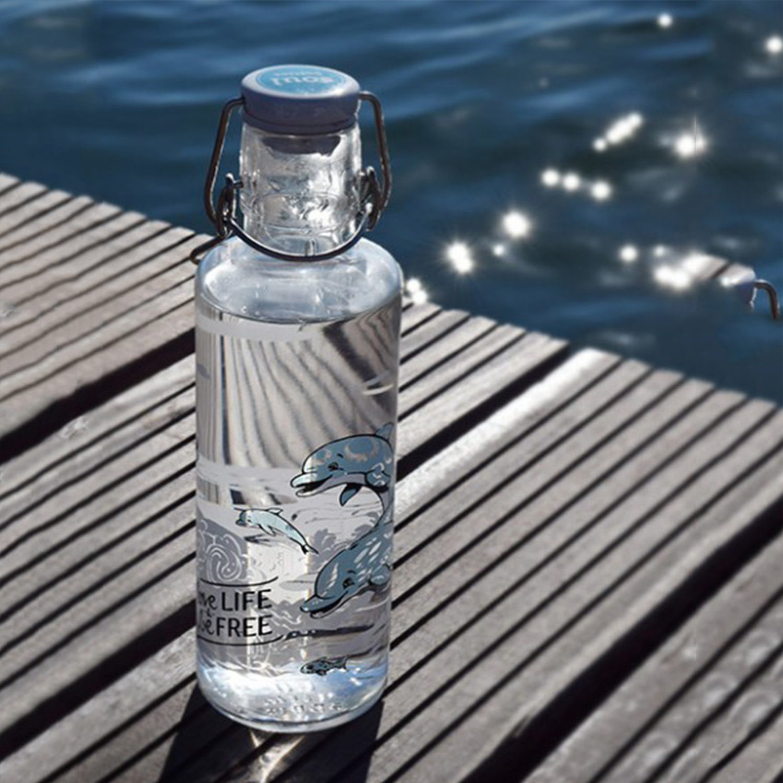 德国原产soul bottles玻璃水具水瓶快乐的海豚0.6L 透明