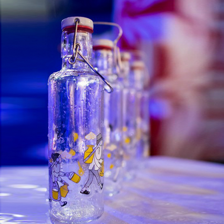 德国原产soul bottles玻璃水具水瓶汇水四方0.6L 透明
