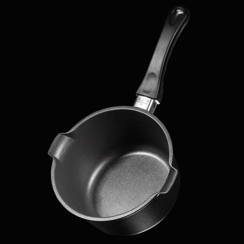 德国原产DHT重型铸铝合金Lotan专利涂层不粘奶锅小汤锅18cm 黑色