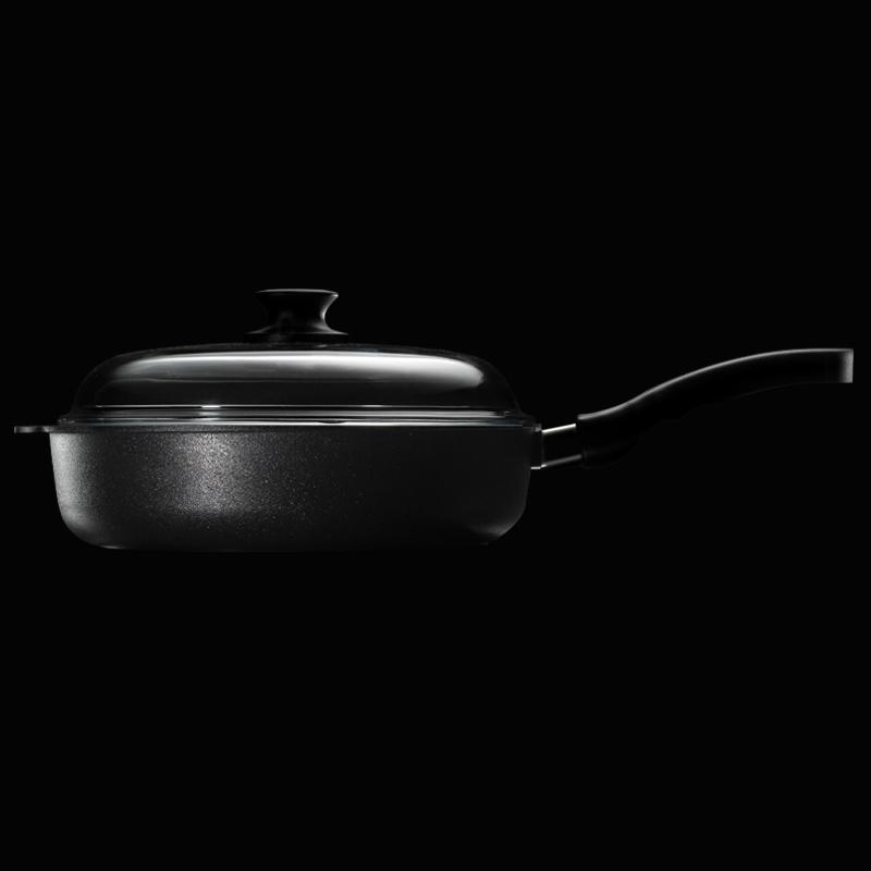 德国原产DHT重型铸铝合金Lotan涂层煎炒多用不粘锅28cm送锅盖 黑色