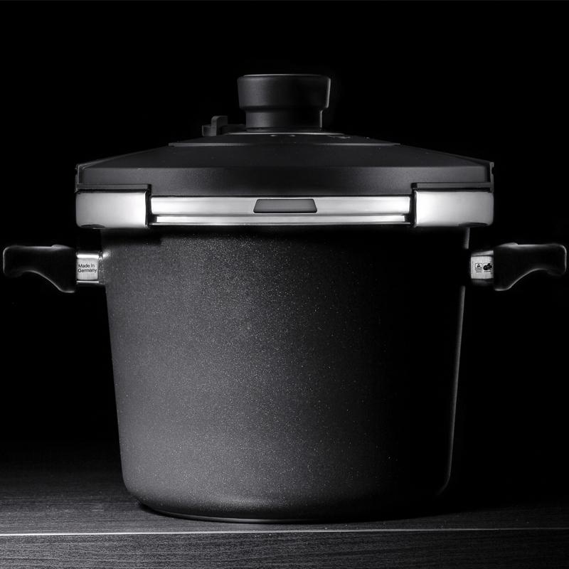 德国原产DHT重型铸铝合金Lotan涂层压力锅套装24cm 5.5L 双盖 黑色