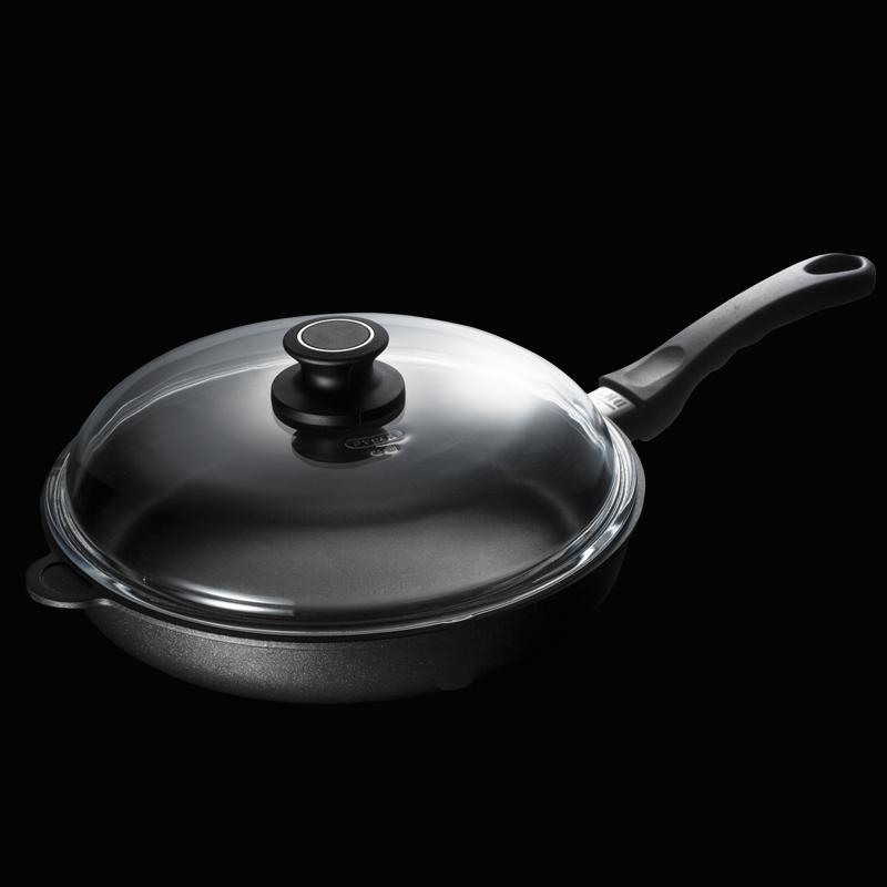德国原产DHT重型铸铝合金Lotan涂层不粘煎锅燃气款28cm送锅盖 黑色
