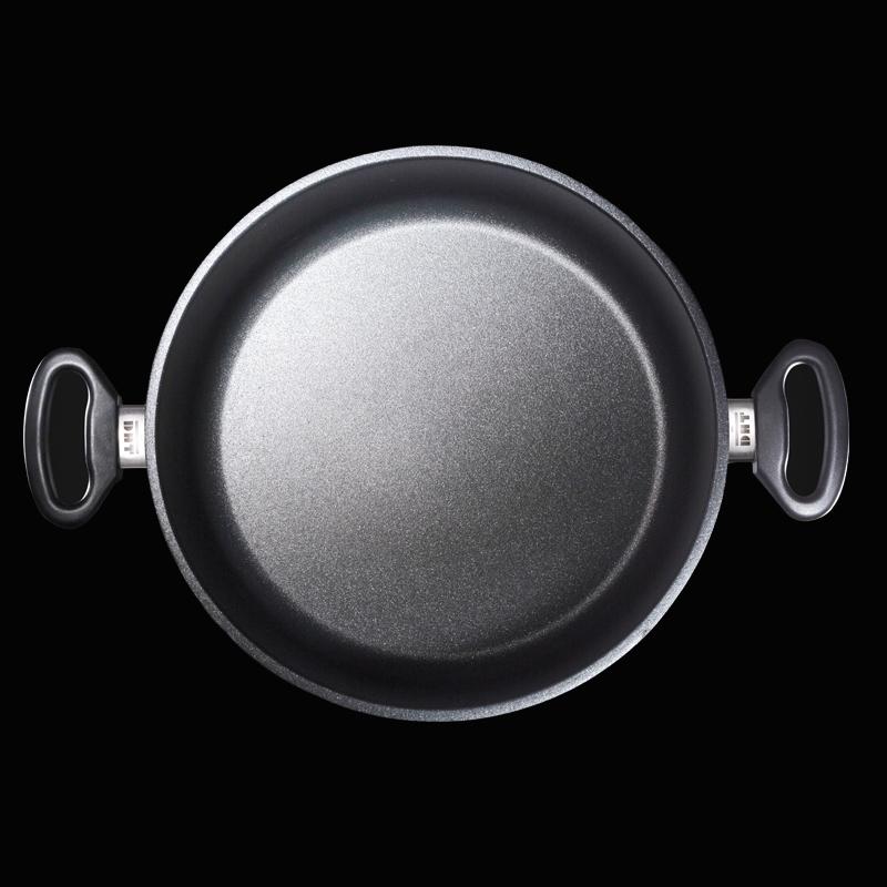 德国原产DHT重型铸铝合金Lotan涂层不粘双耳汤锅26cm 送锅盖 黑色