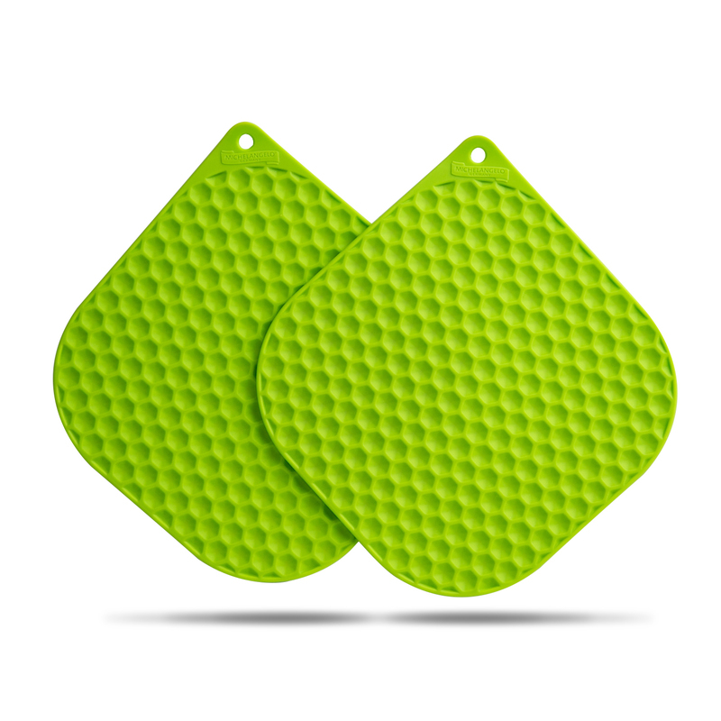 韩国原产BBTTO健康硅胶隔热垫锅垫餐桌垫盘垫两个装 绿色
