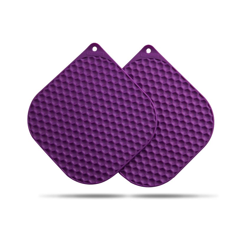 韩国原产BBTTO健康硅胶隔热垫锅垫餐桌垫盘垫两个装 紫色