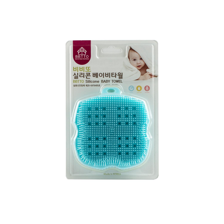 韓國原產BBTTO健康矽膠寶寶洗浴巾多功能清潔巾洗澡巾 藍色