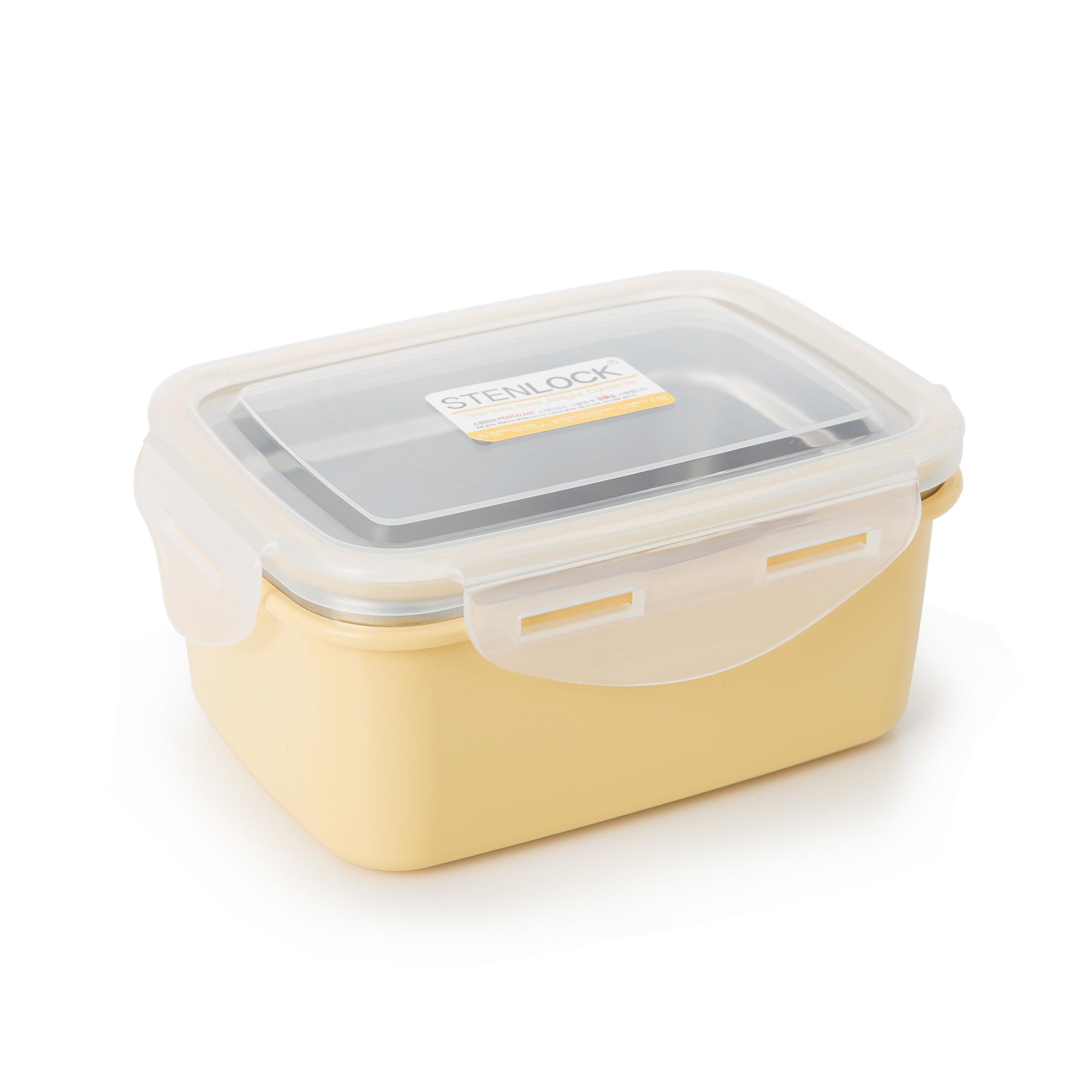 韩国原产STENLOCK不锈钢午餐盒便当盒保鲜盒 540ML 黄色
