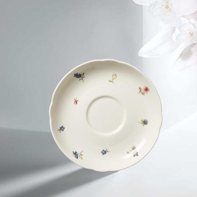 德国原产Seltmann Weiden陶瓷茶杯垫盘盘子彩色小花15cm 白色