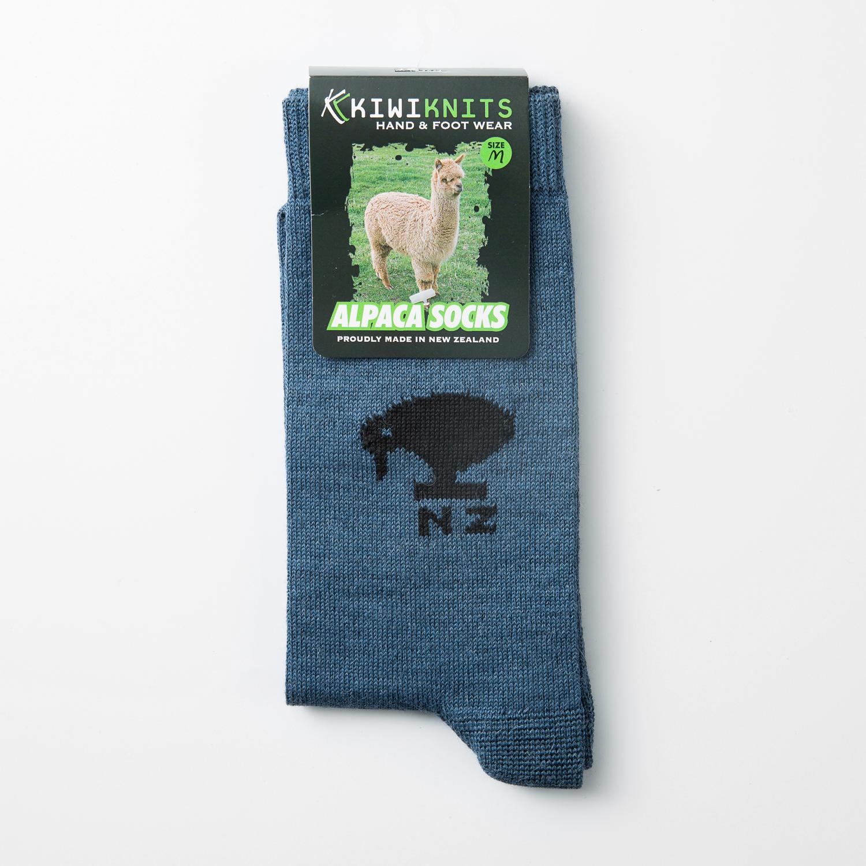 新西兰原产KIWIKNITS 驼羊毛男士袜子薄袜 蓝色 M