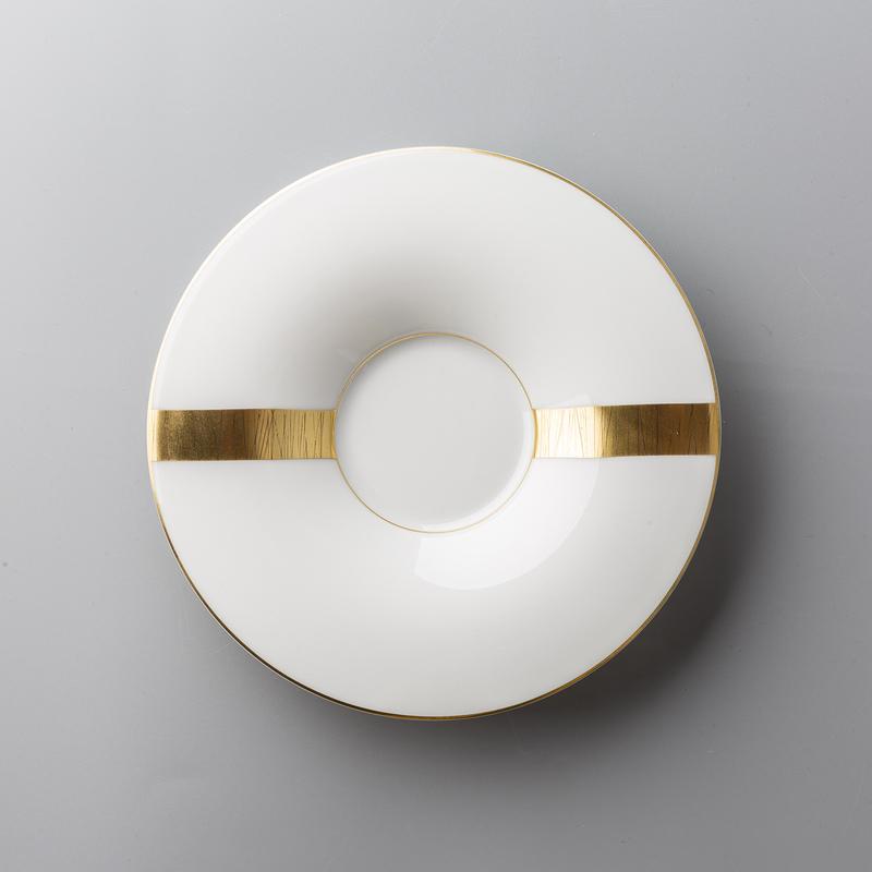 德国原产Königlich Tettau白底镀金茶具 金黄 茶杯碟咖啡碟