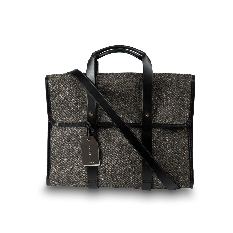 英国原产CHERCHBI 手工高山赫德维克羊毛手拎包斜跨包商务包 中灰