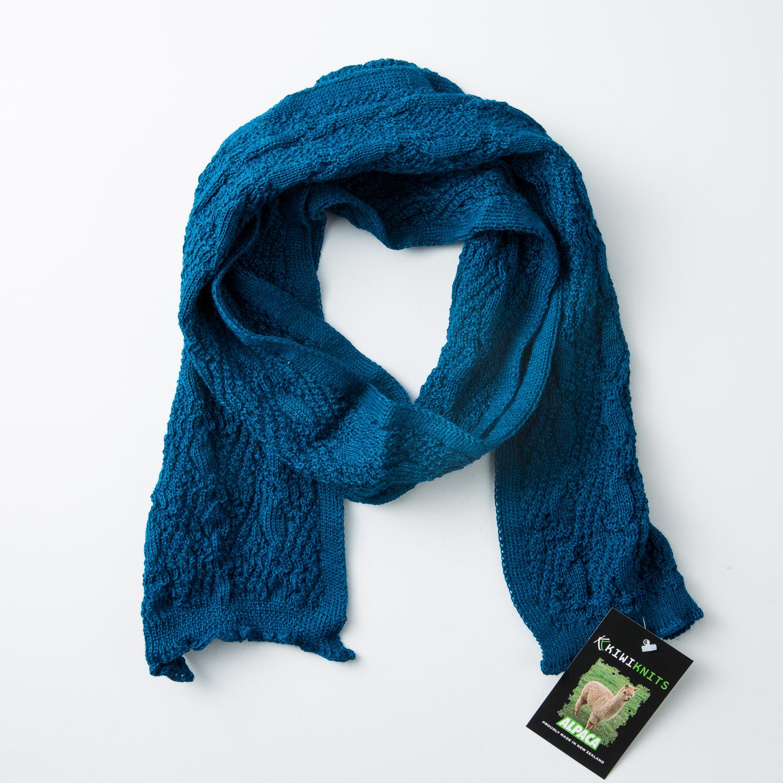 新西兰原产KIWIKNITS 驼羊毛围巾厚款宝石蓝 宝蓝