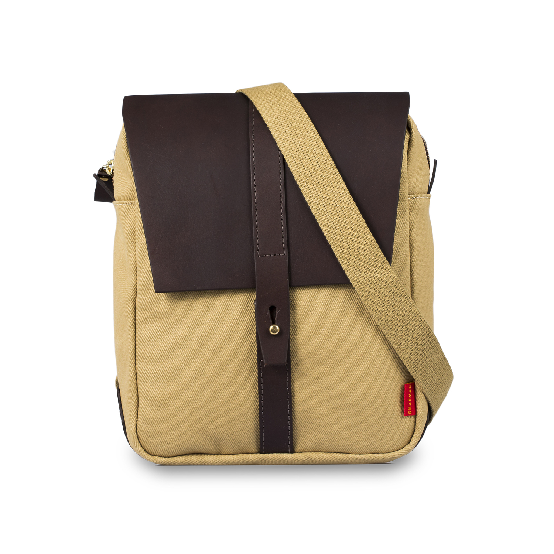 英国原产chapman男士手工斜纹帆布休闲斜挎包单肩包 卡其色