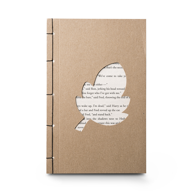韩国原产JIGOONAMOO 环保纸笔记本EMMA叶子镂空图案  棕色