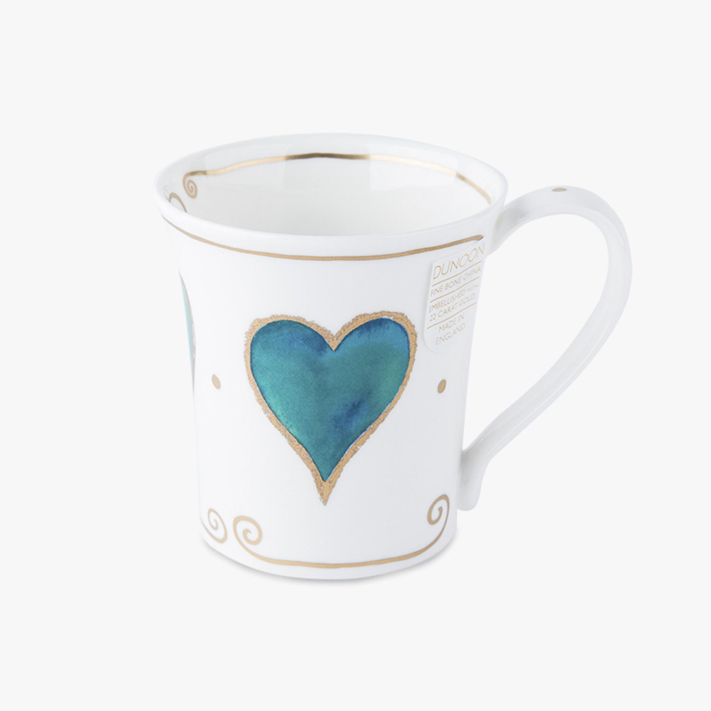 英国原产DUNOON丹侬骨瓷马克杯水杯Jura型22k黄金饰面 蓝色