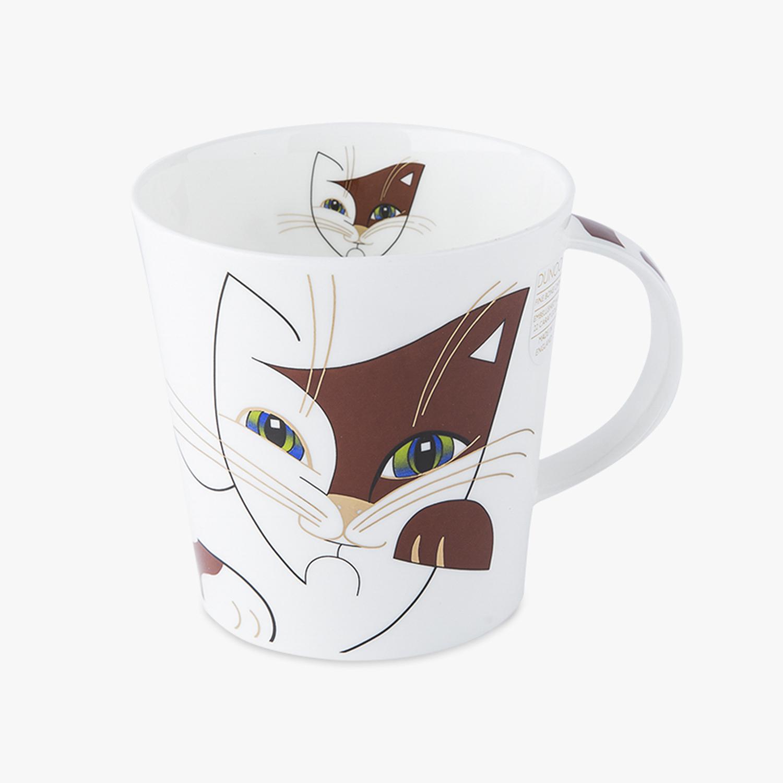 英国原产DUNOON丹侬骨瓷马克杯情侣水杯Cairngorm杯型朋克猫 红色
