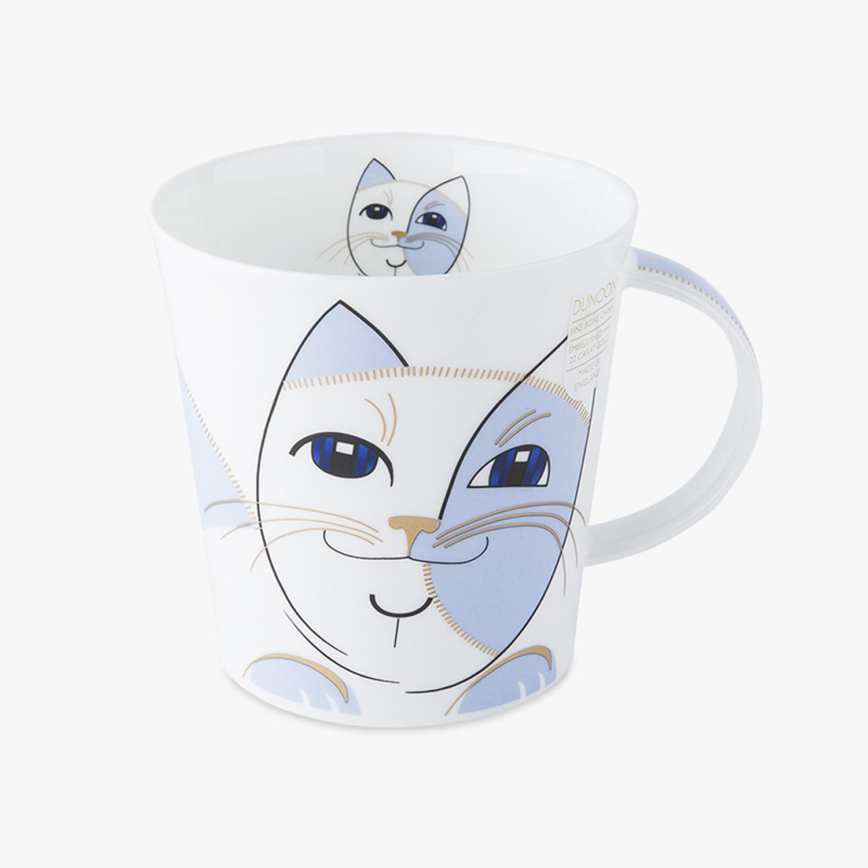 英国原产DUNOON丹侬骨瓷马克杯情侣水杯Cairngorm杯型朋克猫 天蓝