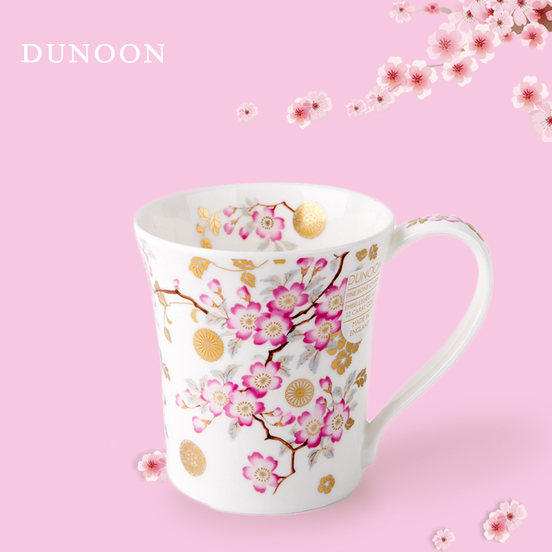英国DUNOON丹侬骨瓷杯马克杯樱花/白底
