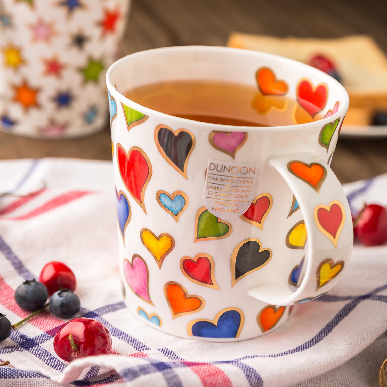 英国原产DUNOON丹侬 Cairngorm型骨瓷茶杯水杯马克杯金心 彩色